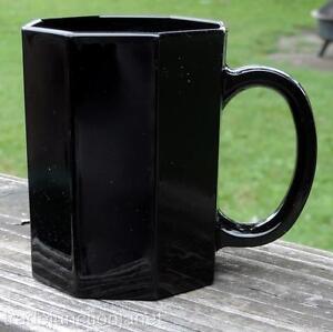 """ARCOROC FRANCE OCTIME #N7 BLACK AMETHYST GLASS 3-7/8""""h OCTAGONAL COFFEE CUP/MUG"""