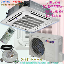 24000 BTU 2 Ton PIONEER Inverter Ceiling Cassette Ductless Split Heat Pump + Kit