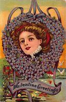 Valentine Postcard Woman's Face in Heart Shaped Wreath of Purple Flowers~114024