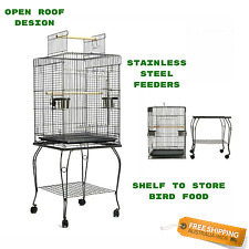 NEW Bird Cage On Wheels With Stand Aviary Parrot Pet Open Roof Bowl Easy Clean