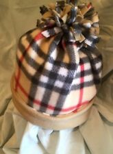 Tan Plaid Check Burberry Extra Warm Fleece Winter Hat*Beanie*Double Layered*