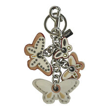 NWT Coach All Butterfly Applique Bag Charm 58997 Key Chain Silver Chalk Studded