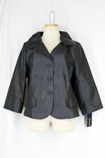 VICTOR COSTA Silk Coat Jacket Size 14 XL Black Button Front 3/4 Sleeve Lined