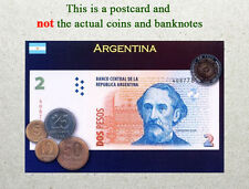 Postcard: Argentina Circulating Coins and Currency (Banknote) 2013
