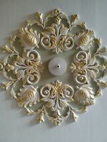 "Ceiling rose/design,plaster, art deco style, hand made,gold, 21"","