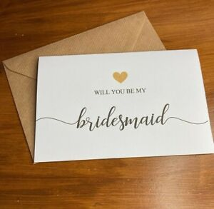 Will you be my bridesmaid Card & Envelope  ( Envelope can be Personalised )