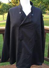 Pro Series Unisex Xl Chefs Coat Black Waiter Waitress Culinary Long Sleeve New