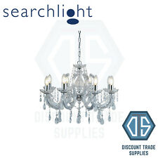 SEARCHLIGHT 399-8 MARIE THERESE CHROME 8 LIGHT CHANDELIER WITH CRYSTAL FREE P&P