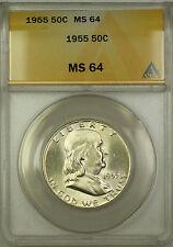 1955 Franklin Silver Half Dollar 50c Coin ANACS MS-64 RL
