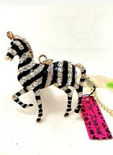 Betsey Johnson Necklace Gold Tone Zebra Crystals Enamel African Adorable