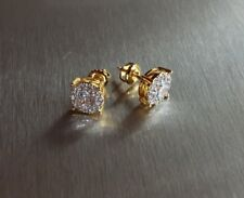 Men's & Ladies 18K Gold Finish Brilliant Lab Diamond Screw Back Stud Earrings