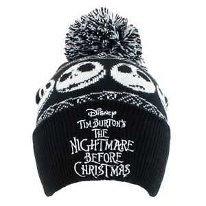 Nightmare Before Xmas Beanie Pom knitted adult size