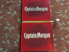 """2 - RED Captain Morgan Extra Large Bar Mat Large, 15 1/2"""" X 13 1/2"""" X 1/2 - USED"""