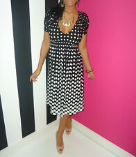 NEXT Black & White Polka Dot Stretch Swing V-Neck Summer Tea Dress 10 Petite