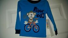 Granimals NWT Kid's Unisex Blue/Brown/Orange Monkey/Bike PJ Shirt Size 3T