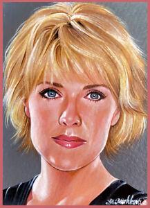 Original ACEO PAINTING Stargate Sam Carter Samantha Amanda Tapping SG-1 Mishkova
