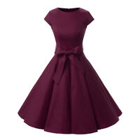 1950s Retro Vintage Style Rockabilly Pleated Party Dress Cap Sleeve Swing Dress