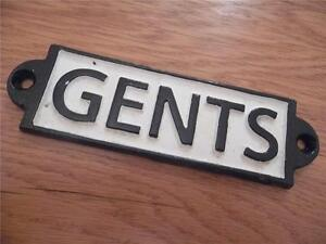 VINTAGE STYLE CAST IRON BLACK & WHITE PAINTED WALL PLAQUE GENTS DOOR SIGN FAB!