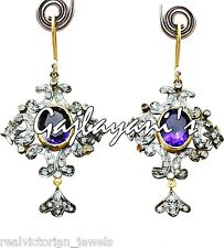 CHARMING 15.85 CT. FINE AMETHYST & ROSE CUT DIAMOND 14K GOLD/SILVER EARRING