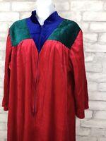 Vintage Anne Leslie Red Color Block Housecoat Long Robe Velvet Half Zip Plus 1X