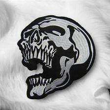 Large Skull Head Embroidered Sew On Iron On Punk Patch Badge Fabric  Transfer