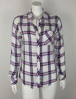 Rails Women's Plaid Shirt White Multi XS Button Down 100% Rayon Long Sleeve