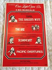 1976 Topol Wiz Kismet Pacific Overtures Civic Light Opera Theater Window Card