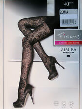 Fiore Zemira - Patterned Fine Pantyhose 40den IN White + 3 Sizes New