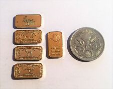 Set of 5 Assorted 1 Gram Ingots Finished in 999 Fine 24 K Gold, Simpsons (C)