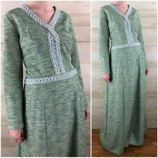 Vintage 70s Mint Green Space Dyed Long Sleeve Knit Maxi Dress Hippie Boho M L
