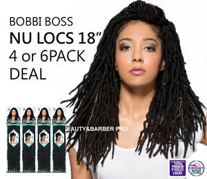"4or6PACK DEAL - NU LOCS 18"" - [authentic] BOBBI BOSS HAND MADE PRE LOOP CROCHET"