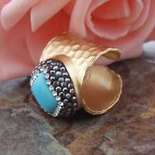 18MM Blue square turquoise trimmed with macrsite cuff Ring