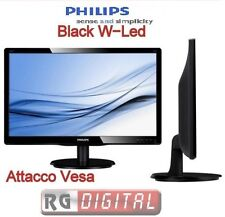 "MONITOR 19"" LED PC SCHERMO DESKTOP PHILIPS 18,5"" POLLICI VGA WIDE ATTACCO VESA"