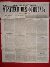 JOURNAL LE MONITEUR DES COMMUNES MINISTERE DE L'INTERIEUR N°46 15 NOVEMBRE 1860