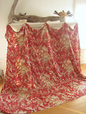 Antique French fabric  red curtain day daybed cover ~ red cretonne old textile
