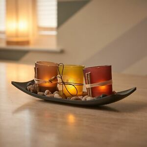 Set of 3 Tea Light Glass Candle Votive Tealight Holders with Tray and Pebbles