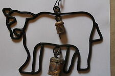 Cow Windchime Handmade in Metal Free Post  Rustic lucky cow
