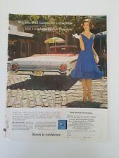 1962 CEIL CHAPMAN women's dress Ford Galaxie 500 convertible red white car ad