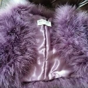 Beautiful Joan Lee Soft Ivory Real Feather Bolero/Bridal Shrug/Wrap/Stole purple