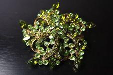 VINTAGE JHS signed Green Emerald Rhinestone Crystal Brooch Pin