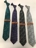 New Men's Steven Land Neck Tie Paisley Micro Silk Teal,Silver,Black,Purple MS13