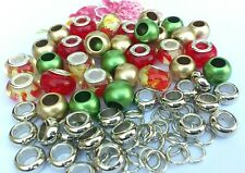 55 Red Silver Poppy Mix Glass,Acrylic Rondelles  & alloy spacers *large hole*