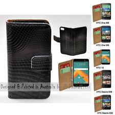 For HTC One X9 10 M9 M8 Desire 820 626 - 3D Block Wave Print Wallet Phone Case