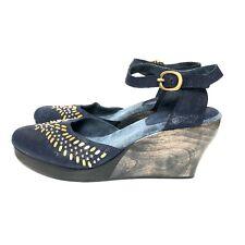 Calleen Cordero Lauren Wedge Shoes Studded Twilight Navy Blue Sundance Women's 7
