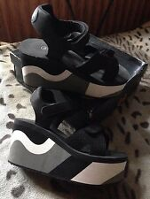 High Wedge Open Toe Sandals Straps Docklands Of Camden Black Rubber UK 7 EU 40