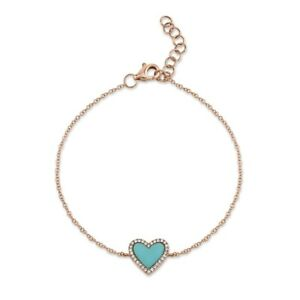 14K Rose Gold Heart Turquoise Diamond Bracelet Charm Womens Natural Love .69CT