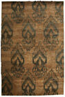 Contemporary Beige and Brown Ikat 15 Rug N10147