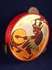 Ancien jouet musical tambourin percussion tôle papier illustré années 30
