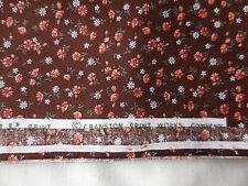 BTY Vintage Brown Blue Calico Cotton Quilt Fabric 44W Cranston Off Bolt 70s-80s