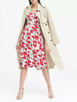 NWT Banana Republic New $128.00 Women Floral Wrap-Effect Midi Dress Size 0, 2, 4